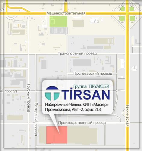 Схема проезда до офиса ООО «Тирсан Кардан»